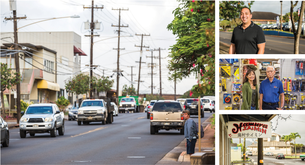 Left: Four lanes of traffic make it difficult for pedestrians to cross Rice Street and to create a people-friendly neighborhood. Right, top to bottom: Kaaina Hull, Kauai's deputy planning director; Roy Tanaka and his daughter Lori Koga inside the 101-year-old hardware supplier Tanaka Store; and the Hamura Saimin lunch counter, a fourth-generation family business.