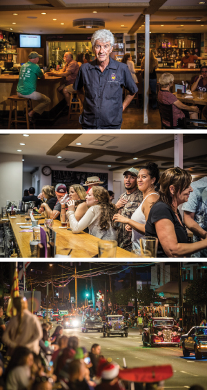 Top: Larry Feinstein, marketing manager of the Kauai Beer Co., stands inside the Rice Street pub. Middle: The Friday night crowd at Kauai Beer Co. includes locals and tourists, young and old. Bottom: Rice Street is integral to community events, including the annual Lights on Rice parade.