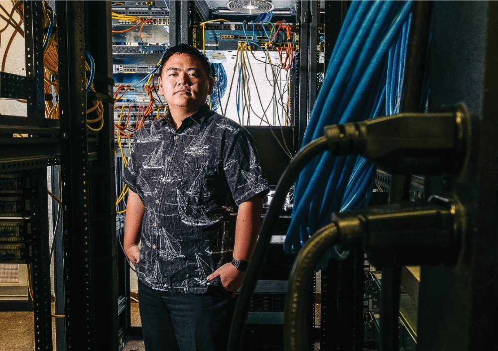 UH West Oahu student Jason Torikawa-Domingo has two internships: One at the university's Cyber Security Coordination Center, and another with Lockheed Martin. Photo: Aaron K. Yoshino.