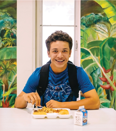 Antonio Omphroy, now a junior at Kaiser High School, says that when he was younger, his favorite lunch was the fish nuggets with tartar sauce served at Mililani Mauka Elementary School. Photo by Aaron K. Yoshino.