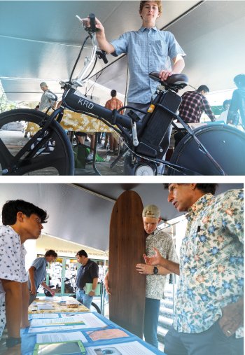 Top photo: High schooler Ian Guard of Mid-Pacific Institute displays his solar-powered electric bicycle. He worked with an entrepreneur during the design phase of his project. Bottom photo: Mid-Pacific student Zoran Cullinan built a traditional wood surfboard using local wood and compared the carbon footprint of his board, including materials and transportation costs, with synthetic boards. Photos provided by Mid-Pacific Institute, Photographer Scot Allen.