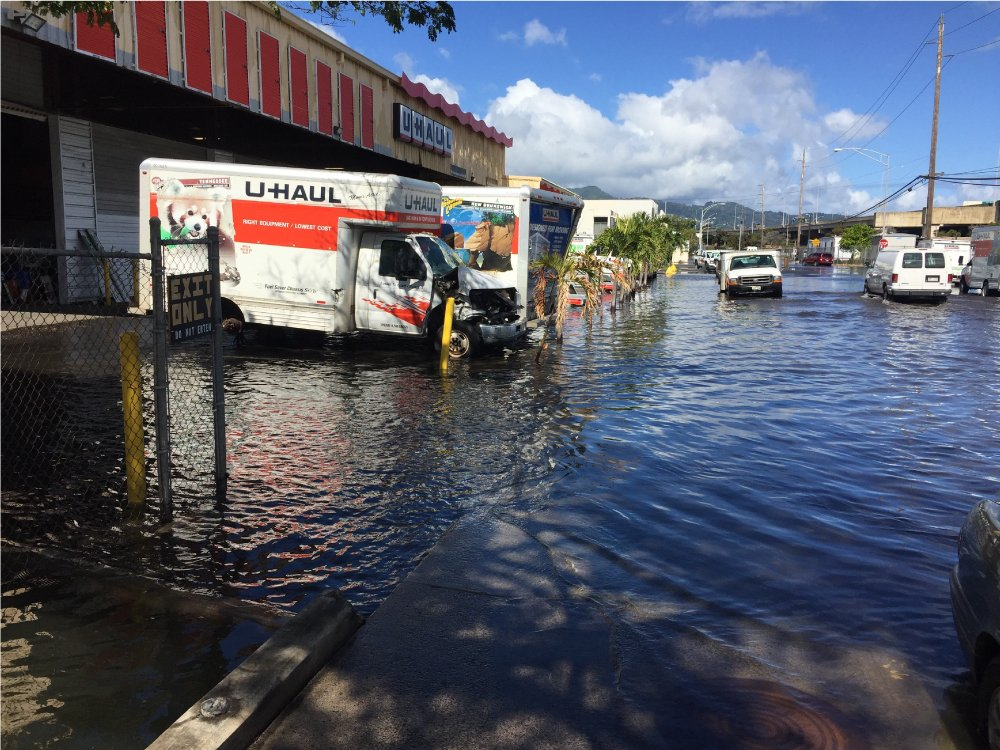It's not just Waikiki feeling the effects of the King Tides. Businesses in Mapunapuna experience flooding due to roads in the area being built on sea level. Flooding is no surprise for businessowners there, however, the King Tides have brought an unprecedented amount of flooding. Photo courtesy of Dolan Eversole.