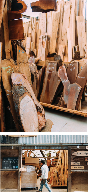 Josh Greenspan, arborist and co-owner of Kamuela Hardwoods, walks through his shop near Waimea filled with specialty wood harvested on Hawaii Island. His business no longer works with ohia wood because of the fear of spreading rapid ohia death. Photography by Megan Spelman