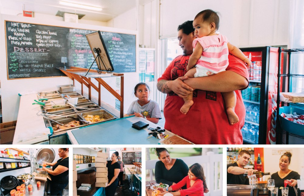 (top) Jordan Kahihikolo, the morning chef at Liko Lehua Cafe Pauahi, picks up his children as his wife Kristie arrives to work at the front counter of Liko Lehua Kaumana. (2nd to right) Dawn with her daughter, Maya, have a snack before they both start the next shift. (bottom right) Matthew and Dawn Kanealii-Kleinfelder prepare for dinner service at Kaumana.