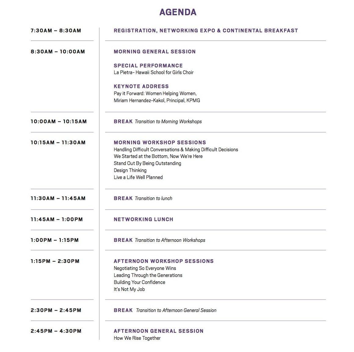 2017 Wahine Forum - General Agenda