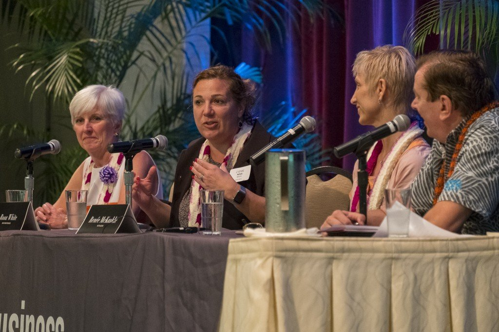 Our panel discussion shared insights on steps needed for Digital Transformation in Hawaii. (left to right) Donna Scannell, VP and Business Information Officer at Kaiser Permanente, Rosa White, CFO and Founder of DRFortress, Renee McKaskle, CIO of Hitachi Data Systems, and Hawaii Business editor Steve Petranik as moderator. Photo by Aaron K. Yoshino.