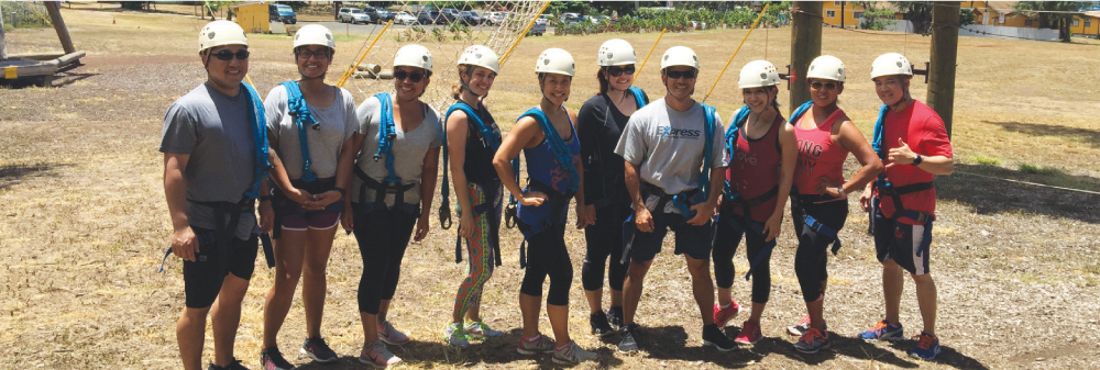 Express Employment Professionals staff during the company's team-building weekend at Camp Erdman.