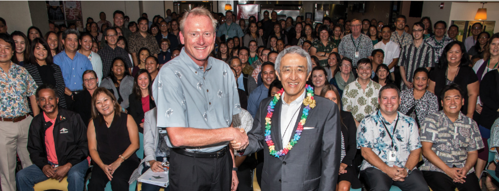 FICOH CEO Jeff Shonka, left, and Nick Nagano, CEO of the parent company TokioMarine Group, at a company event. Photo courtesy of FICOH.