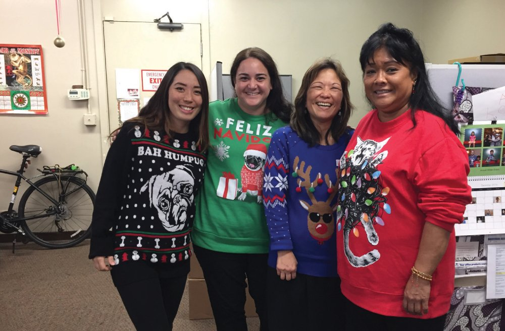 Participants in the Ugly Sweater Contest at Hawaii Diagnostic Radiology Services.