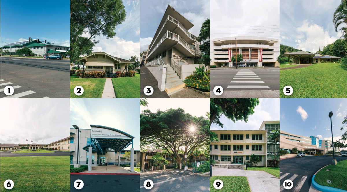 Here are 10 buildings that are named for the Weinbergs or have wings in their names. Clockwise from top left: 1. The Boys & Girls Club of Hawaii on Fort Weaver Road in Ewa Beach; 2. the Easter Seals Hawaii building on Renton Road in Ewa Beach; 3. Catholic Charities Housing Development Corp. on Dominis Street in Makiki; 4. the Japanese Cultural Center of Hawaii on Beretania Street in Moiliili; 5. the Hawaii Nature Center in Makiki; 6. the Shriners Hospital for Children on Punahou Street; 7. Goodwill Industries of Hawaii on Lauwiliwili Street in Kapolei; 8. ARC of Hawaii on Waimano Home Road in Pearl City; 9. YWCA of Oahu on Wilder Street in Makiki; and 10. The Queen's Medical Center-West on Fort Weaver Road in Ewa Beach.