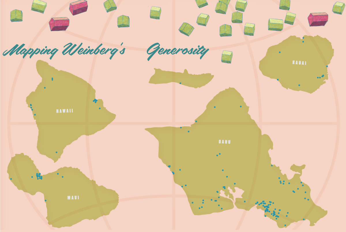 This map shows facilities across the Hawaiian Islands funded by the Weinberg Foundation since 1990. A few are no longer there. Also, since facilities are sometimes located near one another, a single dot may stand for more than one facility. (click to enlarge)