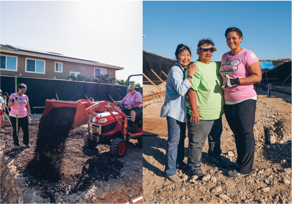 Volunteers prepare a home site in Kapolei. Among the workers on the construction project are members of the Kaliko family, shown at right, who have partnered with Habitat for Humanity Leeward Oahu. The family will own the Kapolei home when it is done. Photo by Josiah Patterson.