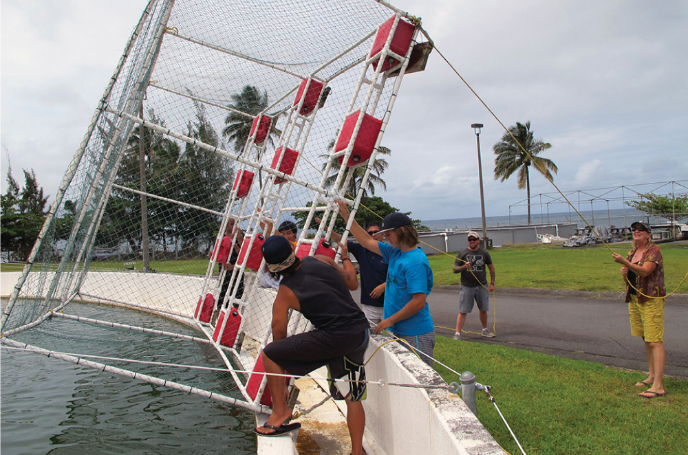 Students work at the Fish Lab at UH-Hilo. Photo courtesy CAFNRM