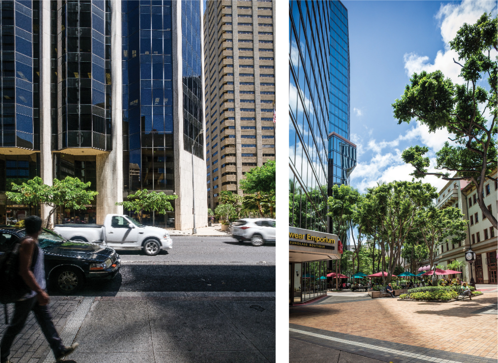 The architects agree that the downtown plaza, between the Dillingham Building and the Pacific Guardian Center (right) is a well-designed public space. Another public space, Pauahi Tower at Tamarind Square (left), gets fewer kudos.