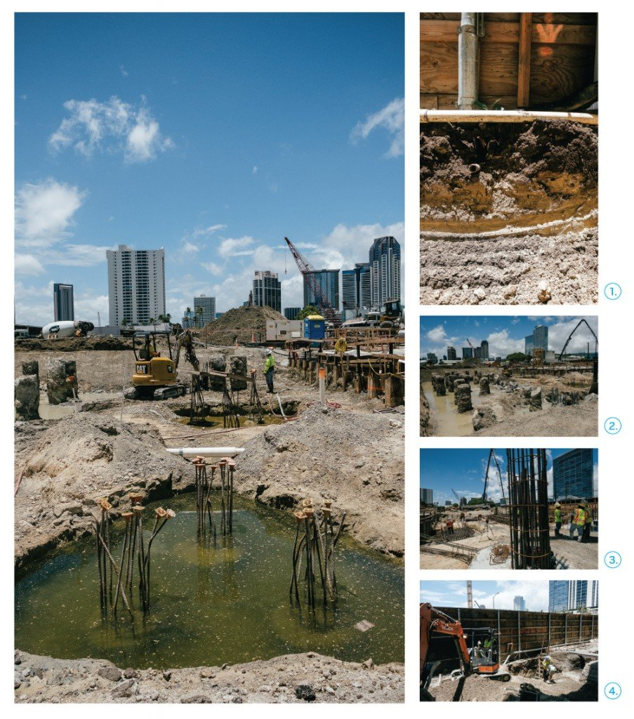 Left: Much of Kakaako is close to sea level. At high tide, the areas excavated for pile caps and grade beams can fill with salt water. Right, top to bottom: 1. Trenching reveals how much fill is used. 2. Clusters of piles exposed for pile cap. 3. Exposed rebar, ready for the next course of forms and concrete. 4. Building a high rise starts with digging.