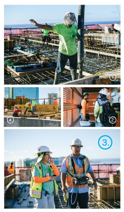 Building a high rise calls for a lot of coordination between workers. Clockwise from top: 1. Concrete worker signals the boom operator. 2.The temporary elevator requires an operator. 3. Boom operator supervises concrete pour. 4. Metal formwork gives the concrete its final shape.