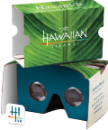 The branded VR viewer that HTA gives away at trade shows and other events. Courtesy Hawaii Tourism Authority.