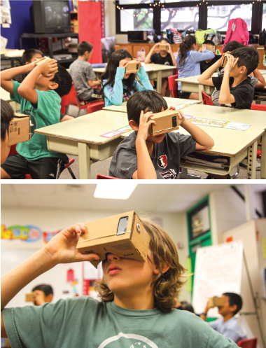 Robin Hiraki's fourth grade social studies class at Iolani School experiences virtual reality with a Google Expeditions activity. In another activity, dozens of the fourth graders went on a field trip: half to Manoa Stream and half to Lyon Arboretum. However, the students made VR tours of each location, so all students could share in each of the visits. Photo Courtesy: Iolani School
