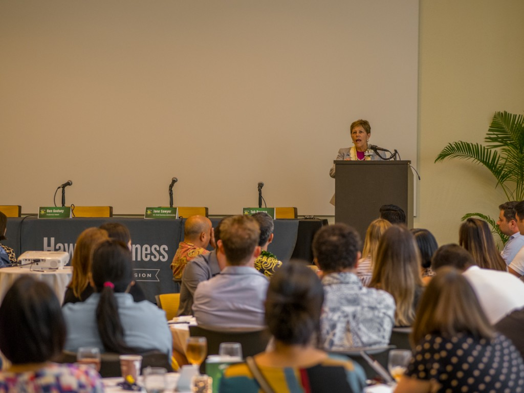 Jane Sawyer, District Director of Hawaii's U.S. Small Business Administration shares the latest updates for small businesses in Hawaii under the new administration. Photo by David Croxford.