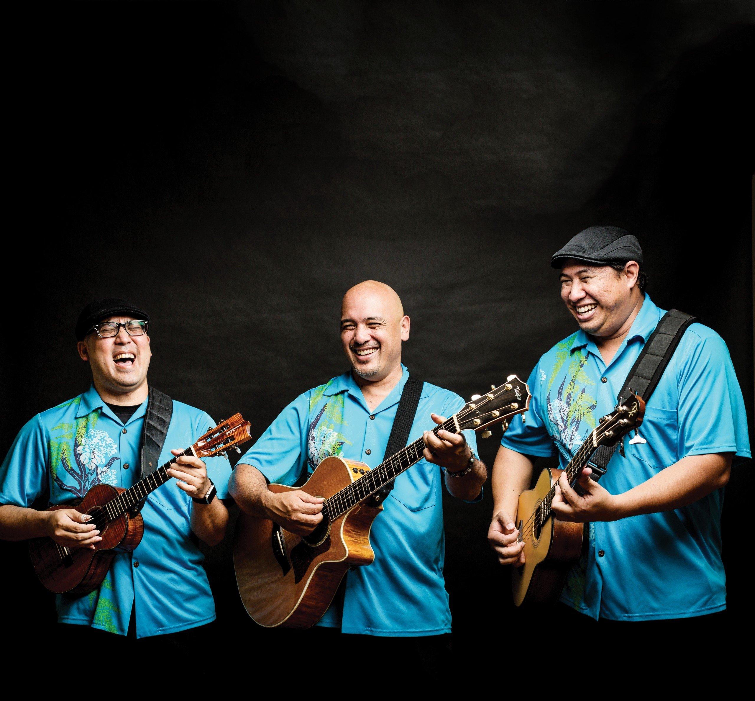 """The Na Hoku Hanohano award-winning trio Waipuna performs in Japan once a month. From left, David Kamakahi, Matthew Kawaiola Sproat, and Kahookeleholu """"Kale"""" Hannahs."""
