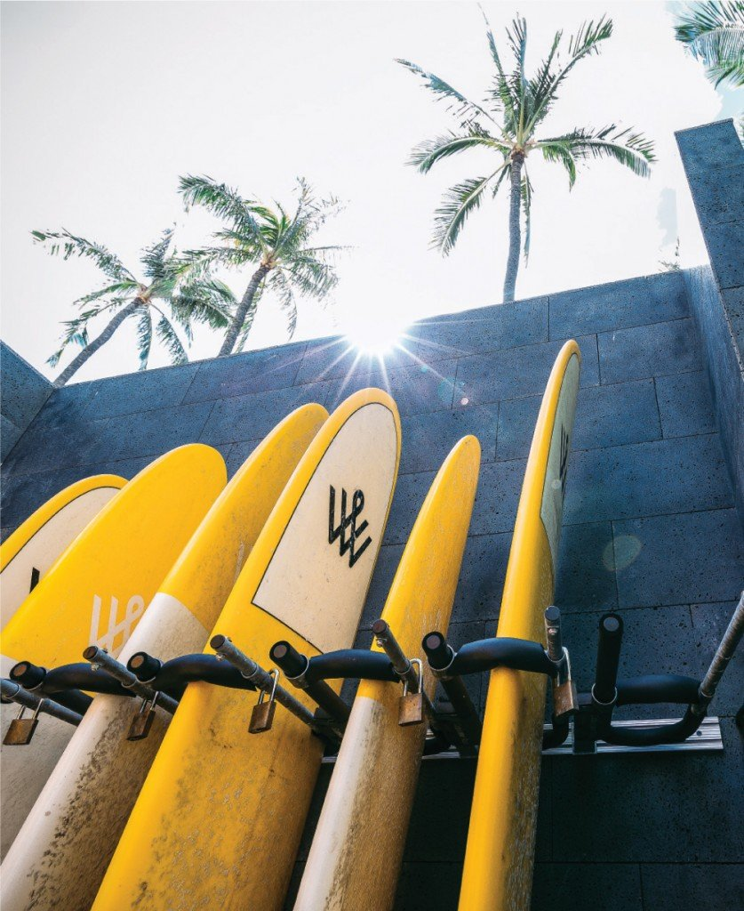 Howard Hughes stores surfboards, paddleboards and bicycles for its staff at its Ward Village location.