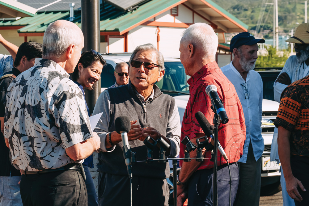 lloyd sueda talks about kahauiki village, photo by aaron yoshino