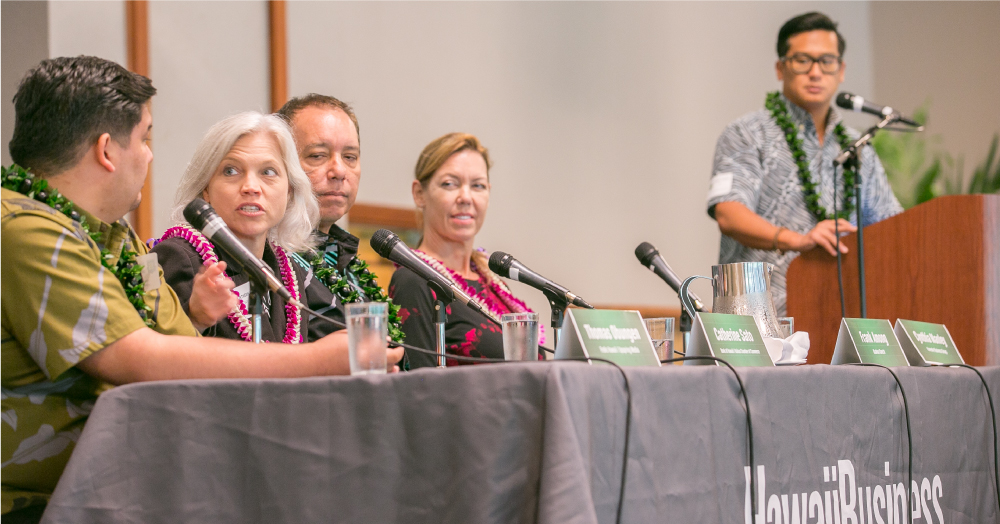 (from left) Thomas Obungen of Frolic / UpSpring Media, Catherine Sato of Bank of Hawaii and the Kailua Chamber of Commerce, Frank Among of Kualoa Ranch, Cynthia Manley of the Kaneohe Business Group, and moderator Daniel Ikaika Ito of Hawaii Business magazine.