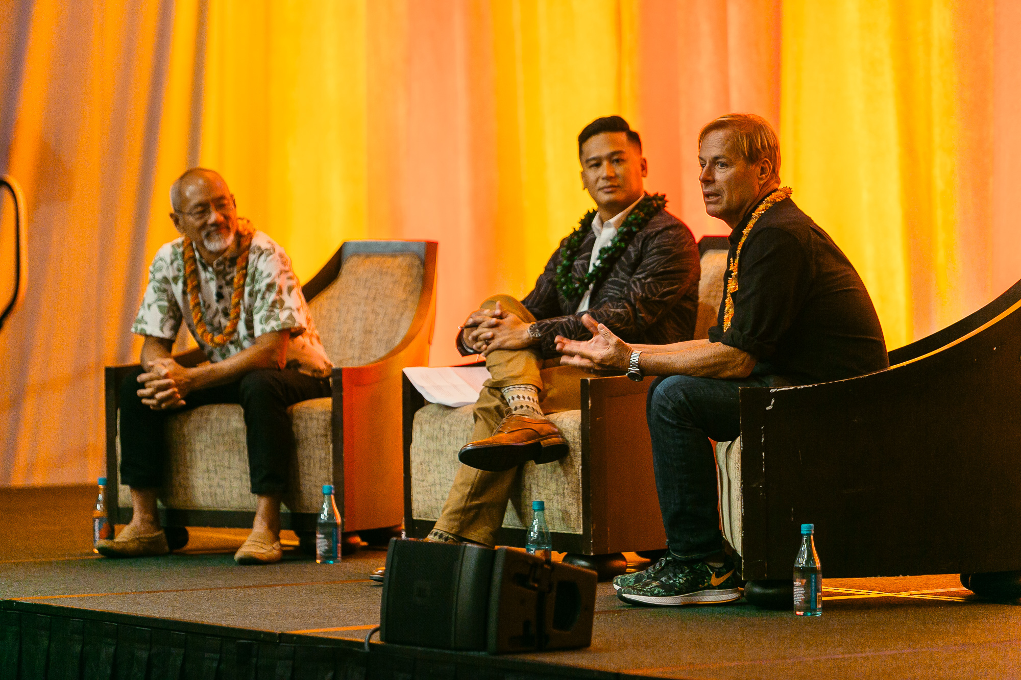 """The keynote talk story, """"Cultivating Culture Within Your Company,"""" featured Hurley Founder Bob Hurley and Sig Zane Designs Founder Sig Zane, which was moderated by Hawaii Business Digital Media Director Daniel Ikaika Ito."""