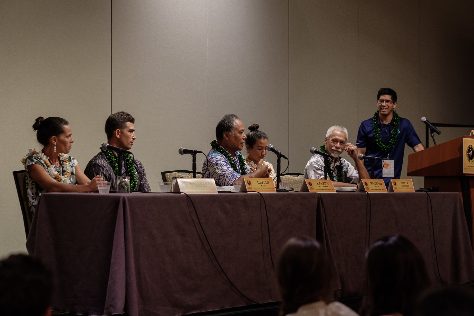 """""""Leadership Lessons From the Hokulea"""" was one of the most popular panels to attend of the day. From left to right: Navigator Kaiulani Murphy, Apprentice Navigator Austin Kino, PWO Navigator/Captain Kalepa Babayan, Assistant Navigator/Science Coordinator Haunani Kane, Billy Richards and Bryson Hoe."""