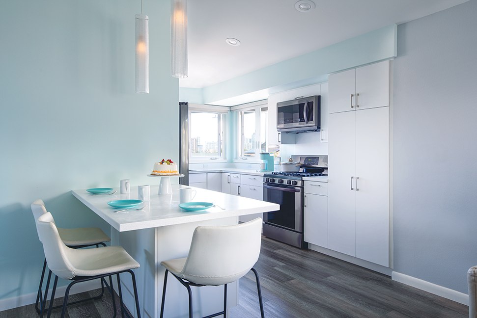 modern teal kitchen