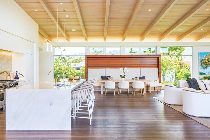 modern open concept kitchen dining room