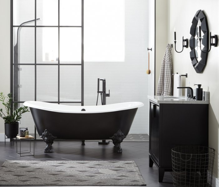 Signature Hardware's 72-inch Lena Cast Iron Clawfoot Tub - Monarch Imperial Feet in Black