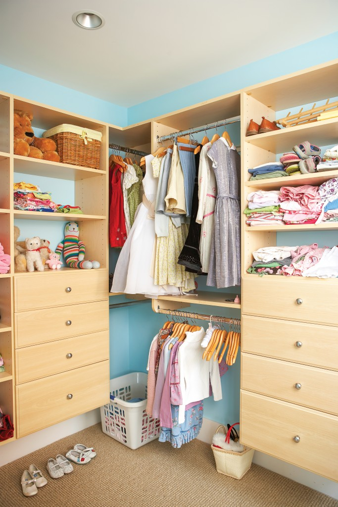 Stuffed Animals And Clothing On Shelves In Closet