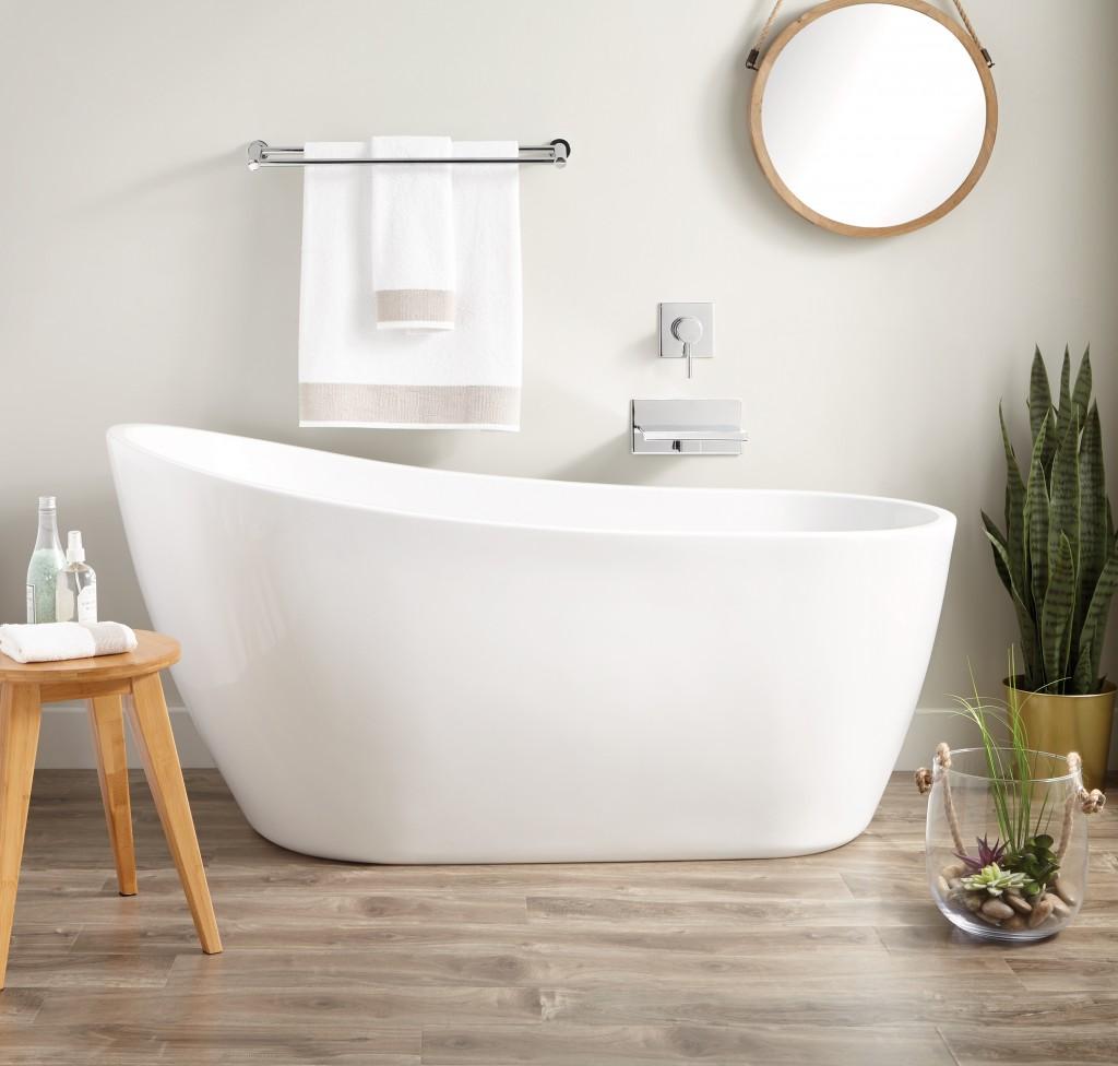 white soaker tub in modern bathroom