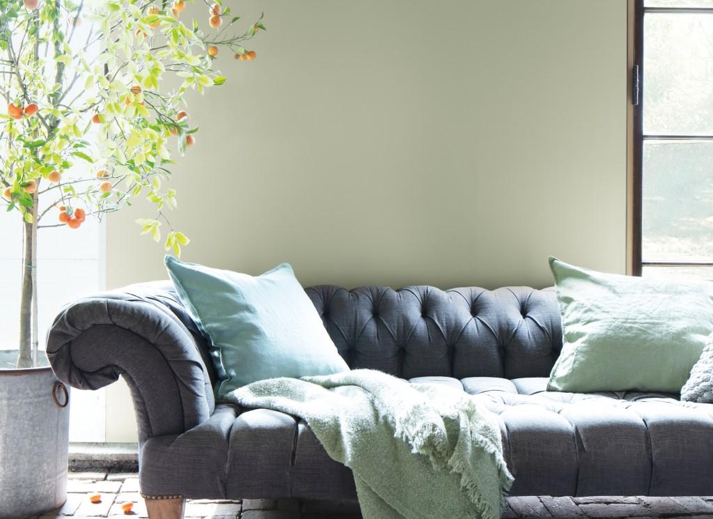 benjamin moore paint in living room - october mist