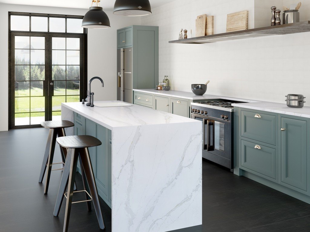 renovated kitchen with marble countertop