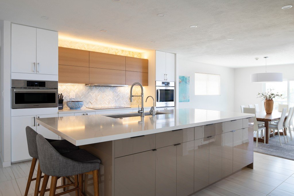 well lit, airy kitchen