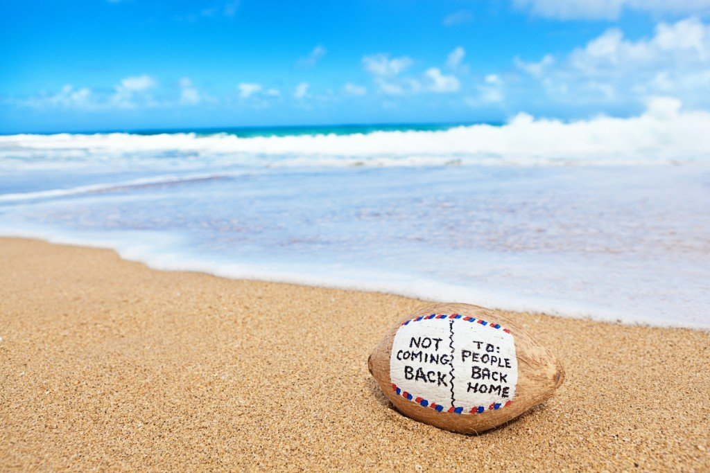 Vacation Coconut Postcard Message On Tropical Beach