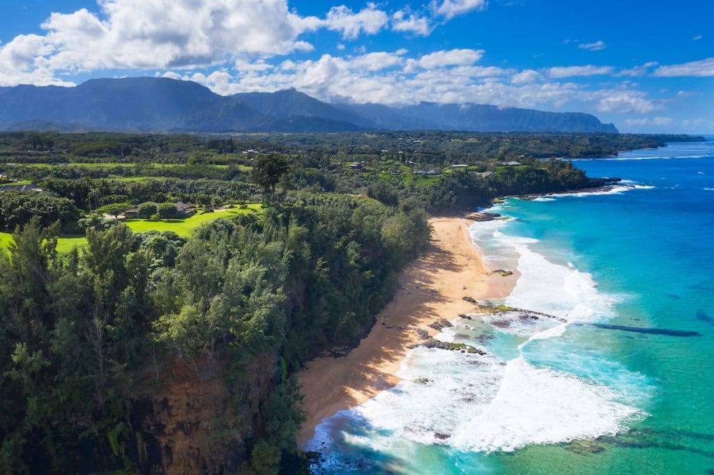 Secret Beach On The North Side Of Kauai, Hawaii.