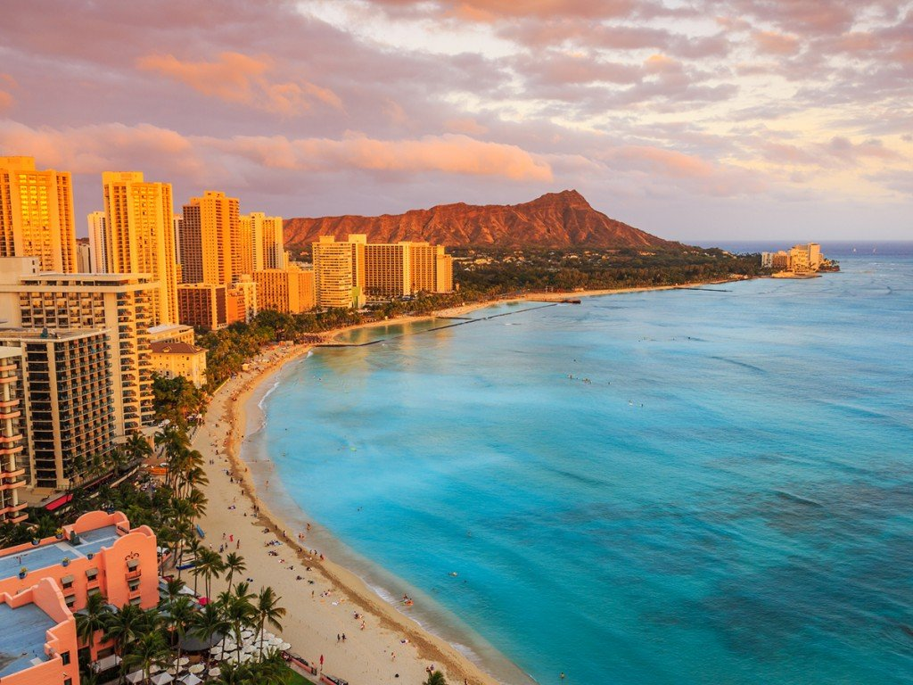 waikiki/diamond head sunset view