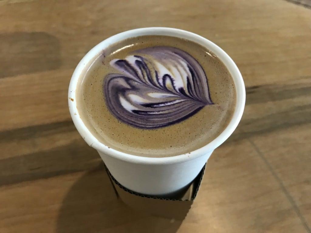 The taro-ube latte from Alii Coffee Co. in Downtown Honolulu.