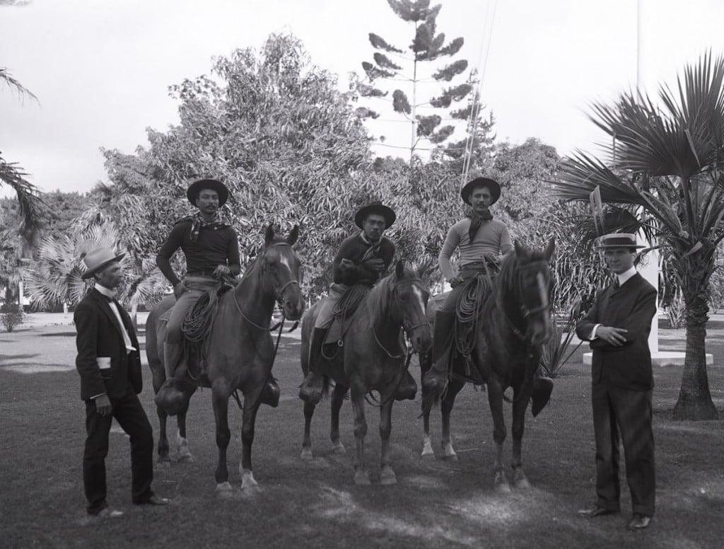 aloharodeo-Ikua Purdy, Archie Ka'au'a, and Willie Spencer (credit, Bishop Museum)