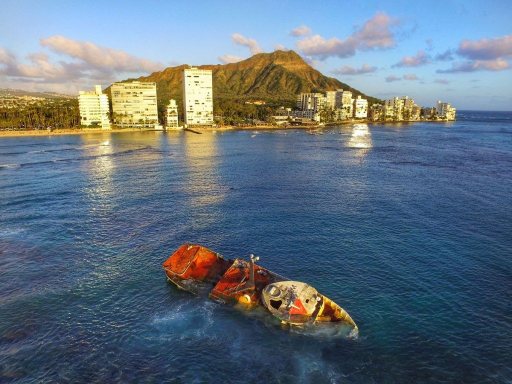 The commercial fishing ship Pacific Paradise run aground in Waikiki.