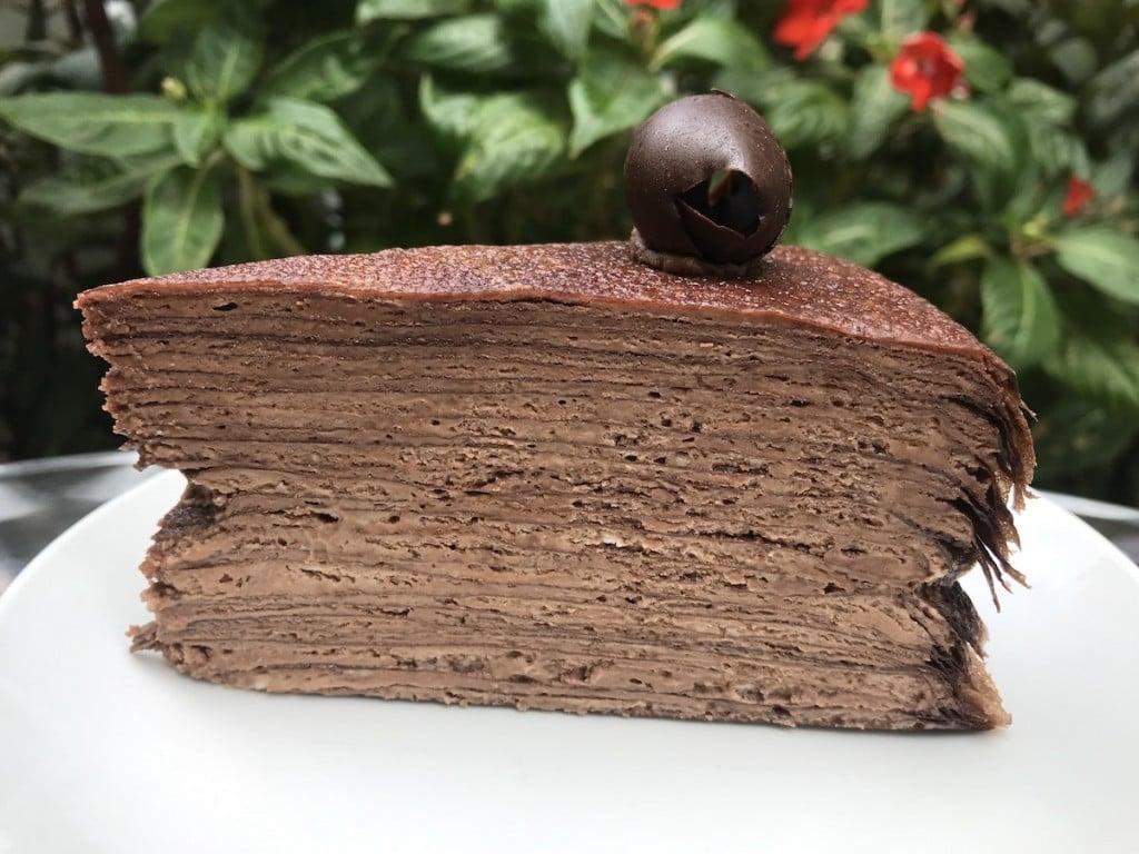 A slice of chocolate crêpe cake from Waikiki Tea House.