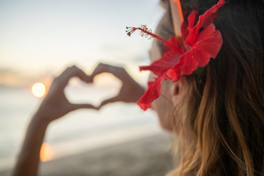 Young Woman Loving Sunset On Beach, Waikiki, Hawaii
