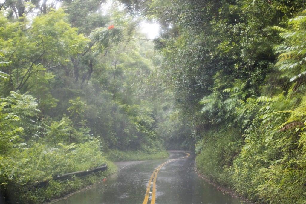 Rain On Highway During Storm Maui Hawaii