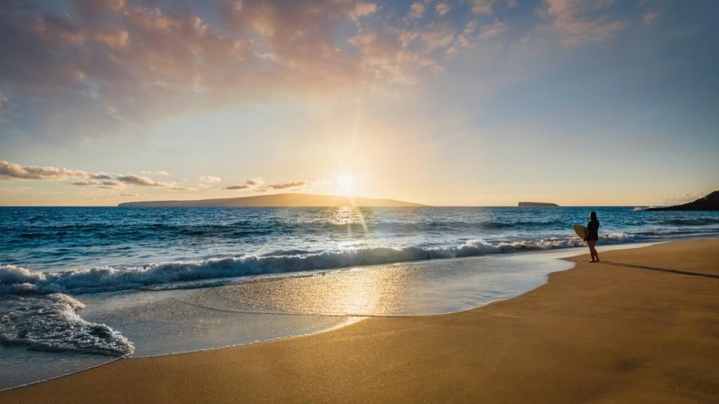 Surfer At The Beach Maui Island Sunset Panorama Hawaii Usa