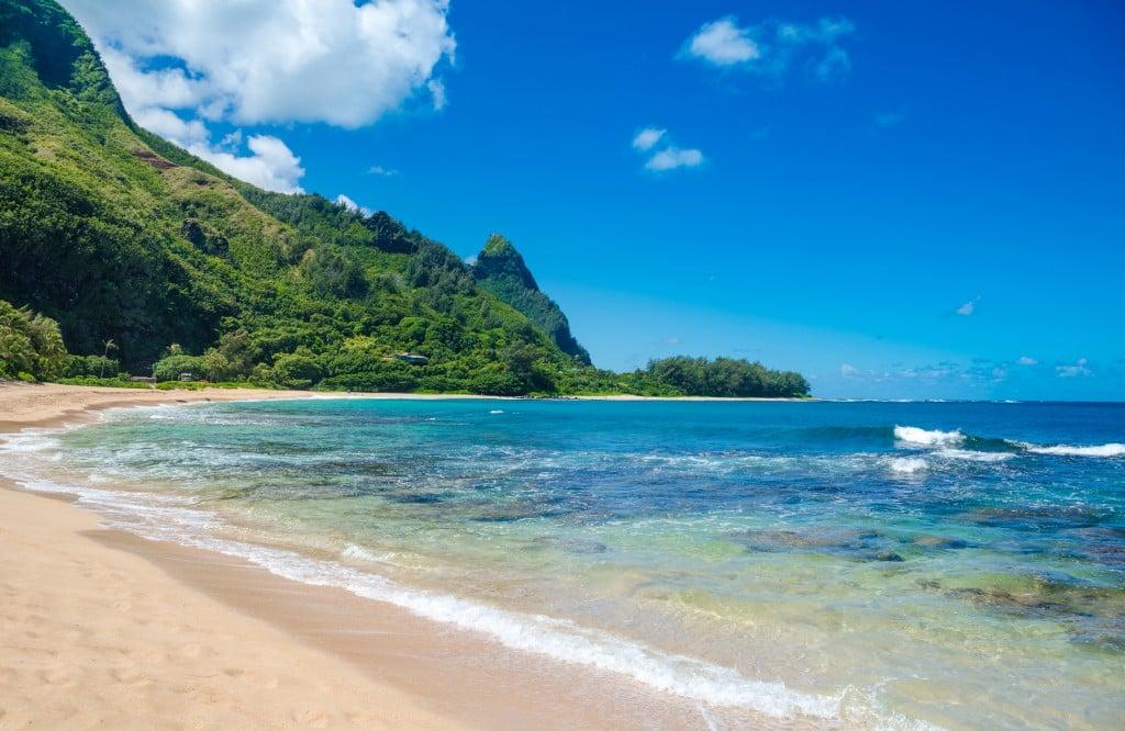 Exotic Beach In Haena, Kauai Island, Hawaii