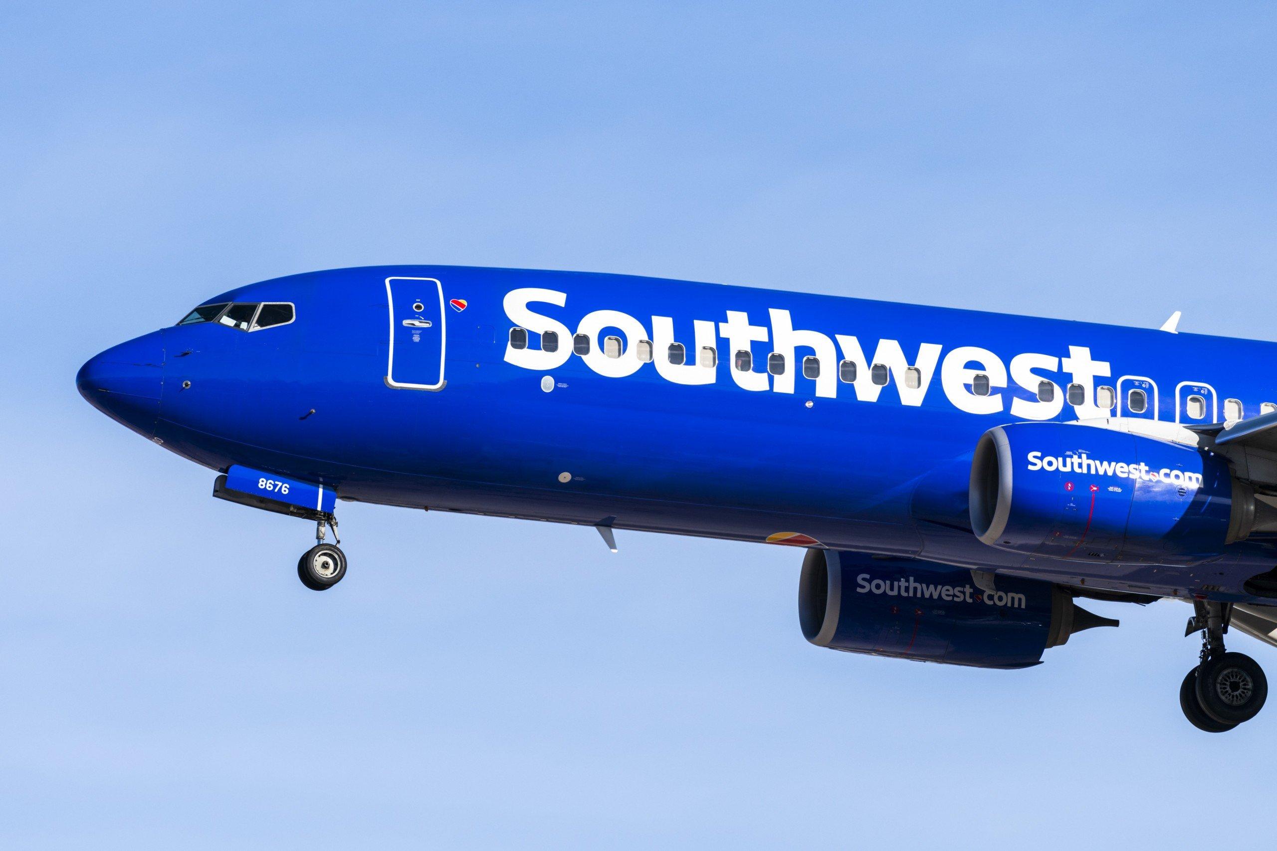 Southwest Airlines Prepares To Land In Las Vegas, Nevada.