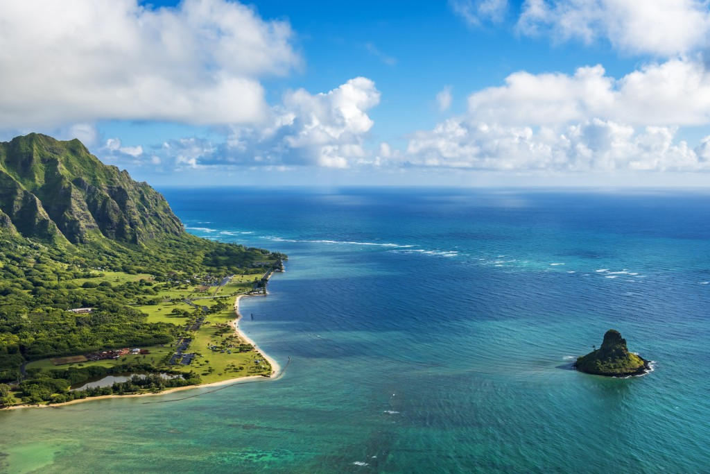 Aerial View Of Kualoa Point And Chinamans Hat, Kaneohe Bay